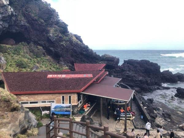 左側的紅色小屋是海女之家,可以在這邊直接點用新鮮海鮮吃