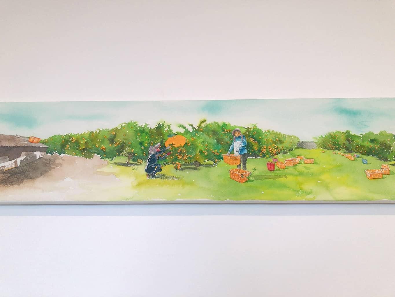 ▲濟州島橘子籃咖啡廳牆上彩畫,圖片版權:stunning-asia.com