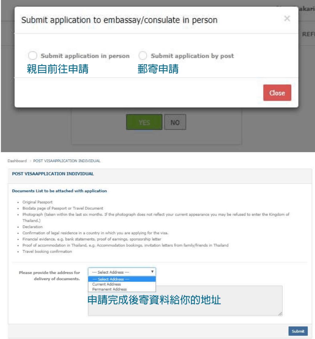 泰國觀光簽證辦理-郵寄申請