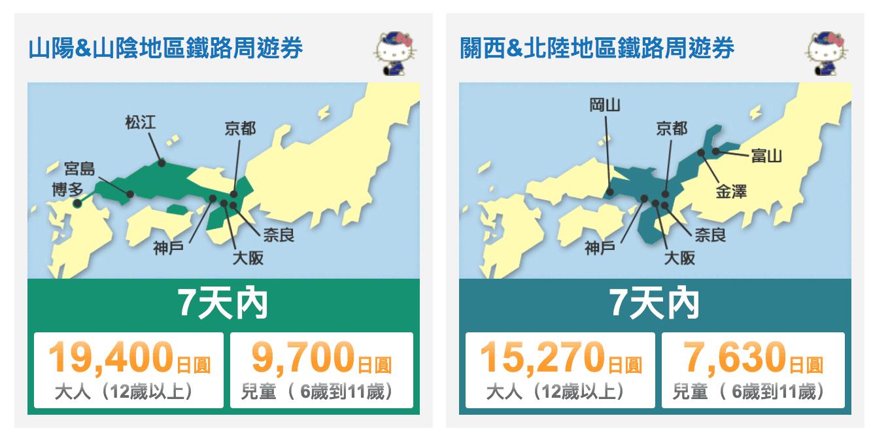 關西機場到京都  山陽、山陰、關西、北陸地區鐵路周遊券
